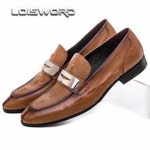 Loisword коричневый/черный Летние мокасины мужские туфли натуральная кожа повседневная обувь в деловом стиле дышащие мужские свадебные туфли