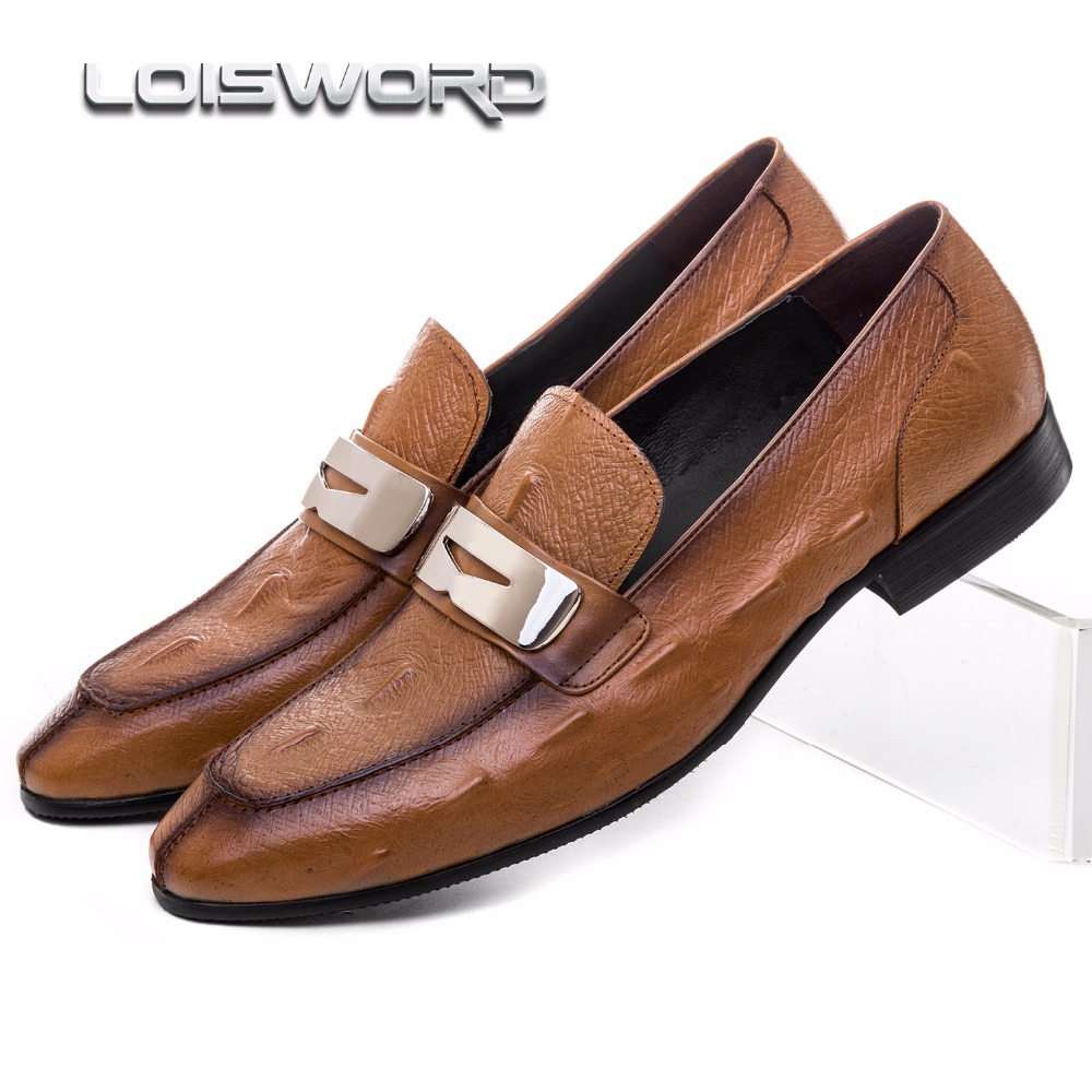 LOISWORD brown/ black summer loafers mens dress shoes genuine leather causal business shoes breathable mens wedding shoes crocodile grain brown tan black summer loafers dress shoes genuine leather business shoes mens wedding shoes with buckle