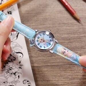 Image 2 - Frozen Elsa Princess Girl Cuties Butterfly Bowknot Watch Student Leather Quartz Beautiful Wristwatch Disney Child Clock Gift box