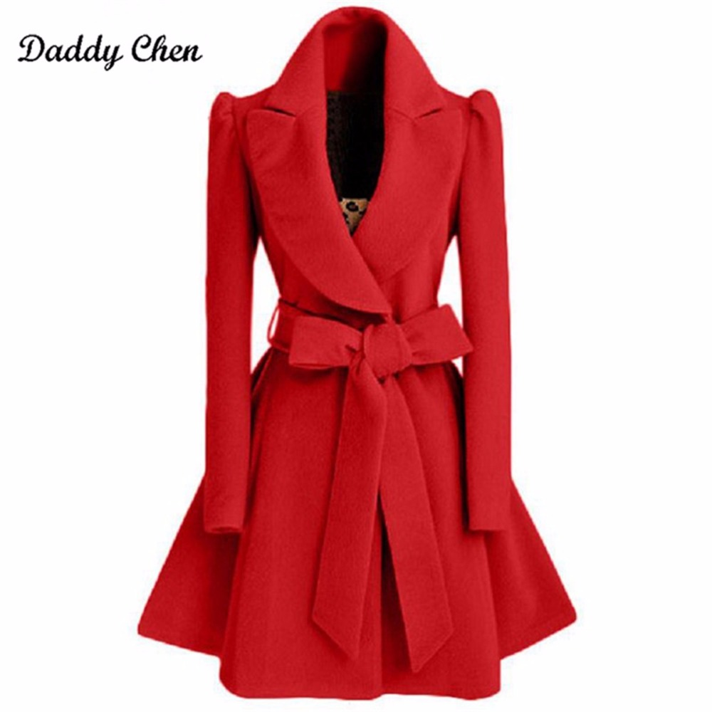 Especially Autumn Winter Blend Coat Women 2018 Slim Long   Trench   Coats Female Sweet Bow Belt Windbreaker Woman Cashmere Hot Sale