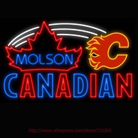 Neon Sign Molson Calgary Flames Real Glass Tube Canadian Vintage Signs Handcrafted Neon Signs For Business