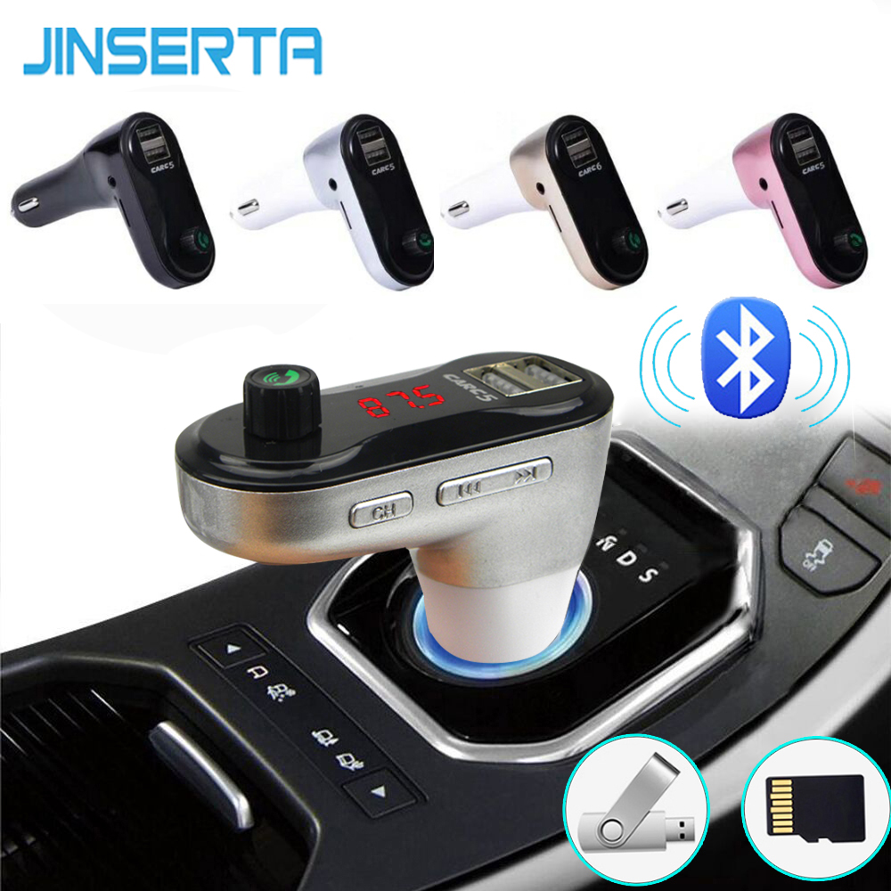 JINSERTA Bluetooth Car Kit FM Transmitter MP3 Player Modulator USB Car Charger Support TF Card U Disk DC12V USB FM Transmitter