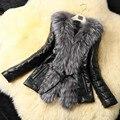 Зима теплая Женщины Искусственного Меха Кожаное Пальто Шить ПУ Рукава Имитация Лисий Мех отложным Воротником искусственная кожа Пальто высокое качество