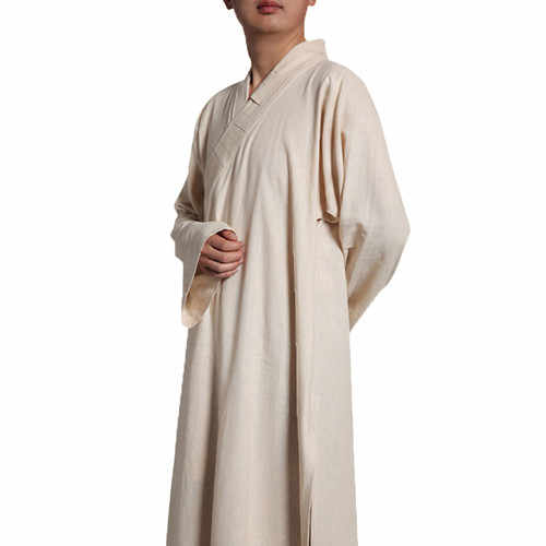 Buddhist Shaolin Unisex Monk Robe Cotton /& Linen Long Robes Gown Kung Fu Frock