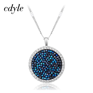 Image 1 - Cdyle Embellished with crystals Pendants Necklaces Round Jewelry Elegant Fashion Blue Bijous Sexy Female