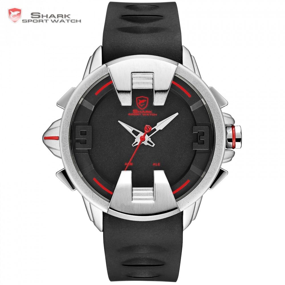 Wobbegong SHARK Sport Watch Black Silver New Design Digital Date LED Men's Quartz Silicon Band Geek Watches 3ATM Relogio /SH556 автоинструменты new design autocom cdp 2014 2 3in1 led ds150