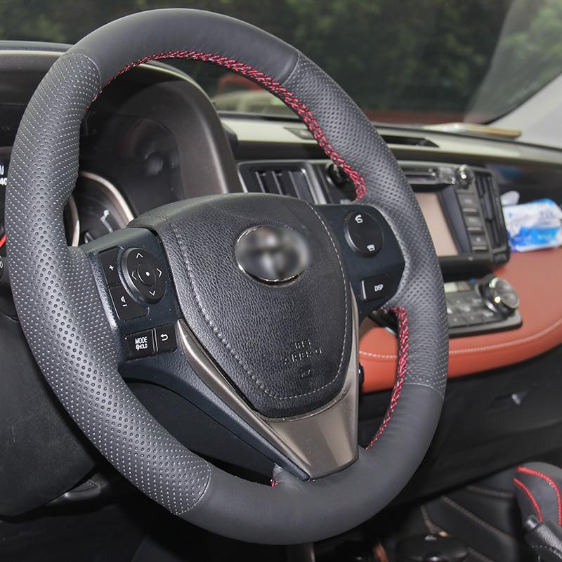 Cubierta del volante de cuero artificial negro brillante para Toyota - Accesorios de interior de coche - foto 3