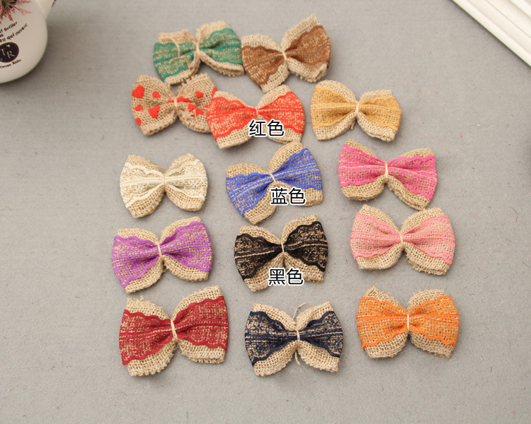 Antique Burlap Cord Bow With Lace For DIY Wedding Event & Party Headwear Brooch Decoration Craft 5 pcs/lot