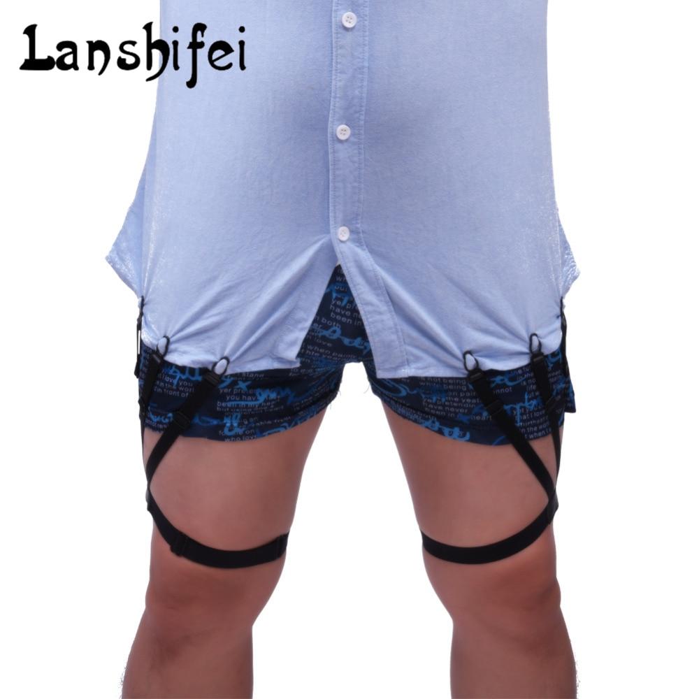 2pcs Mens Shirt Stays Garters Elastic Nylon Adjustable slip sexy Shirt Holders Crease-Resistance Belt Stirrup Style Suspenders