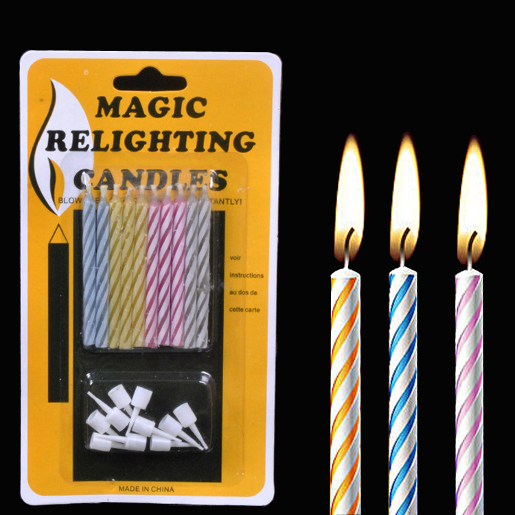 5 Set/lot Magic Relighting Candles Prank Toys Funny Birthday Candles Creative Novelty Candle Blowing Immortal Toys Tricky Toys
