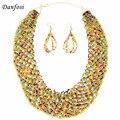 Danfosi 8 Colors Bohemian Fashion Jewelry Set Resin Beaded Women Chunky Collar Handmade Chokers Statement Necklaces Earrings Set