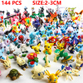 144 Pçs/lote 2-3 cm Pikachu Figura de Ação Brinquedos Dos Desenhos Animados Japoneses Anime Mini Coleções Presentes de Aniversário boneca de brinquedo Dos Desenhos Animados