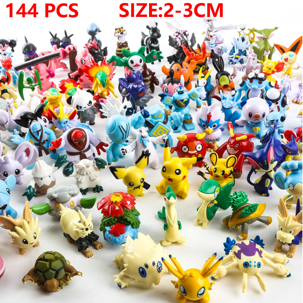 144 Pcs/lot 2-3 cm   Pikachu Action Figure Toys Japanese Cartoon Anime Mini Collections Birthday Gifts Cartoon doll toy cartoon pikachu waza museum ver cute gk shock 10cm pikachu pvc action figures toys go pikachu model doll kids birthday gift