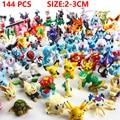 144 Unids/lote 2-3 cm Pikachu Figura de Acción Juguetes de Anime Japonesa de Dibujos Animados Mini Colecciones Regalos de Cumpleaños de Dibujos Animados muñeca de juguete