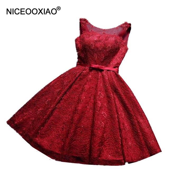 37b73e2dc NICEOOXIAO Vino Vestido de Noche Corto Rojo Vestidos de Noche 2017 Con  Cuentas de Encaje Bordado