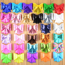 """60pcs/lot 3"""" Large Sequin Bows Neon Bow Knot Applique Embroidery Boutique Hair Ribbon Bow girls Hair Accessories HDJ13"""