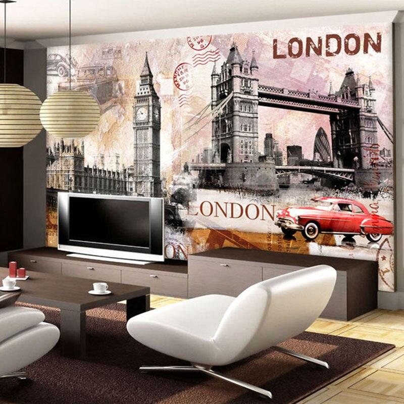 Европейский стиль ретро архитектура Лондонский Тауэрский мост фото обои Ресторан клубы КТВ Бар креативный Декор 3D росписи W
