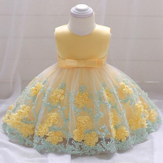 760f2df30ff R$ 159.43 |2019 Nova 1 ano de idade Vestido de Festa Fresco Criança Girl  Princess Vestido Roupas tridimensional Flor Vestido Da Menina Do Bebê ...