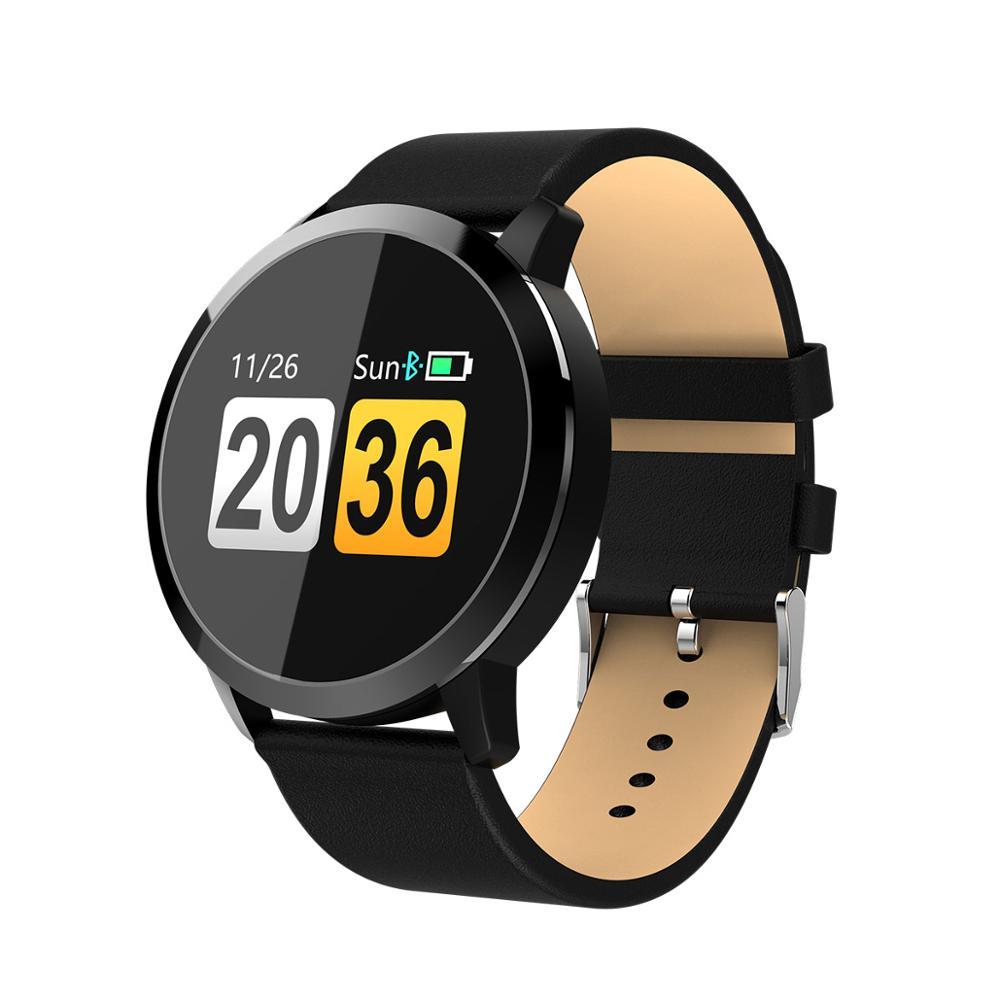 Q8 montre connectée OLED Écran Couleur hommes Mode traqueur de remise en forme de Fréquence Cardiaque Sang Pression D'oxygène Smartwatch