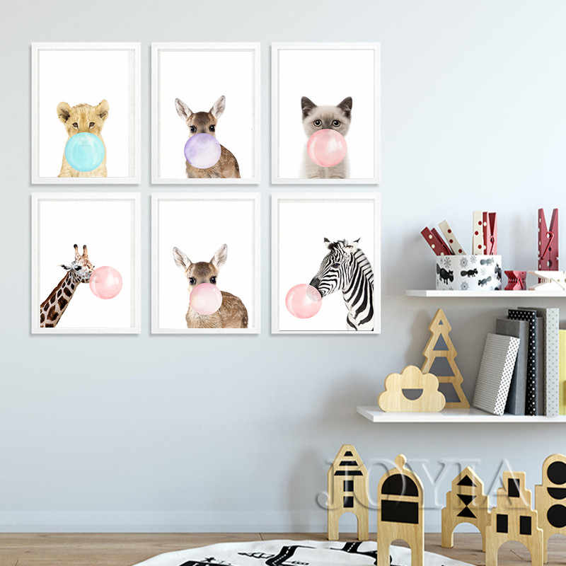 Baby Animal Prints Posters Scandinavian Animals Color Bubble