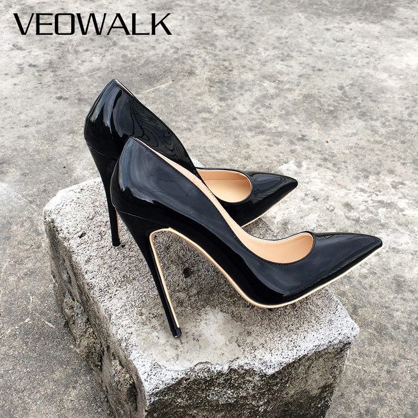 Veowalk Woman High Heel Pumps Office Black Shoes Pointed Toe Patent Leather Stilettos Party Shoes Customized AcceptFor Women