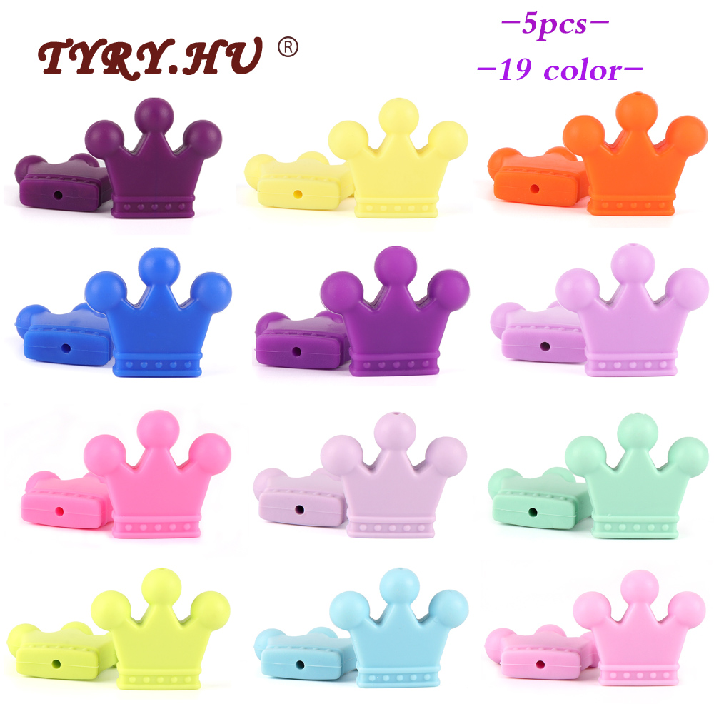 TYRY.HU 5pc Food Grade Crown Silicone Beads Teether Rodents Baby Teething Toy DIY Teethers Necklace Nursing Accessories And Gift