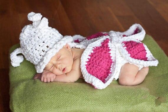 Crochet Stocking Cap Crochet Newborn Hat Crochet Stripe Hat Pom