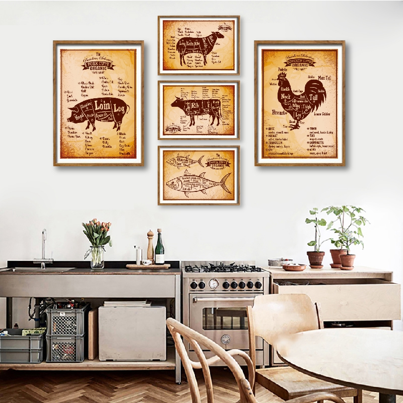 Butcher Rooster Tuna Diagram Retro Posters Print Kitchen Wall Art Picture Cut Lamb Pork Guide Restaurant Decor Canvas Painting
