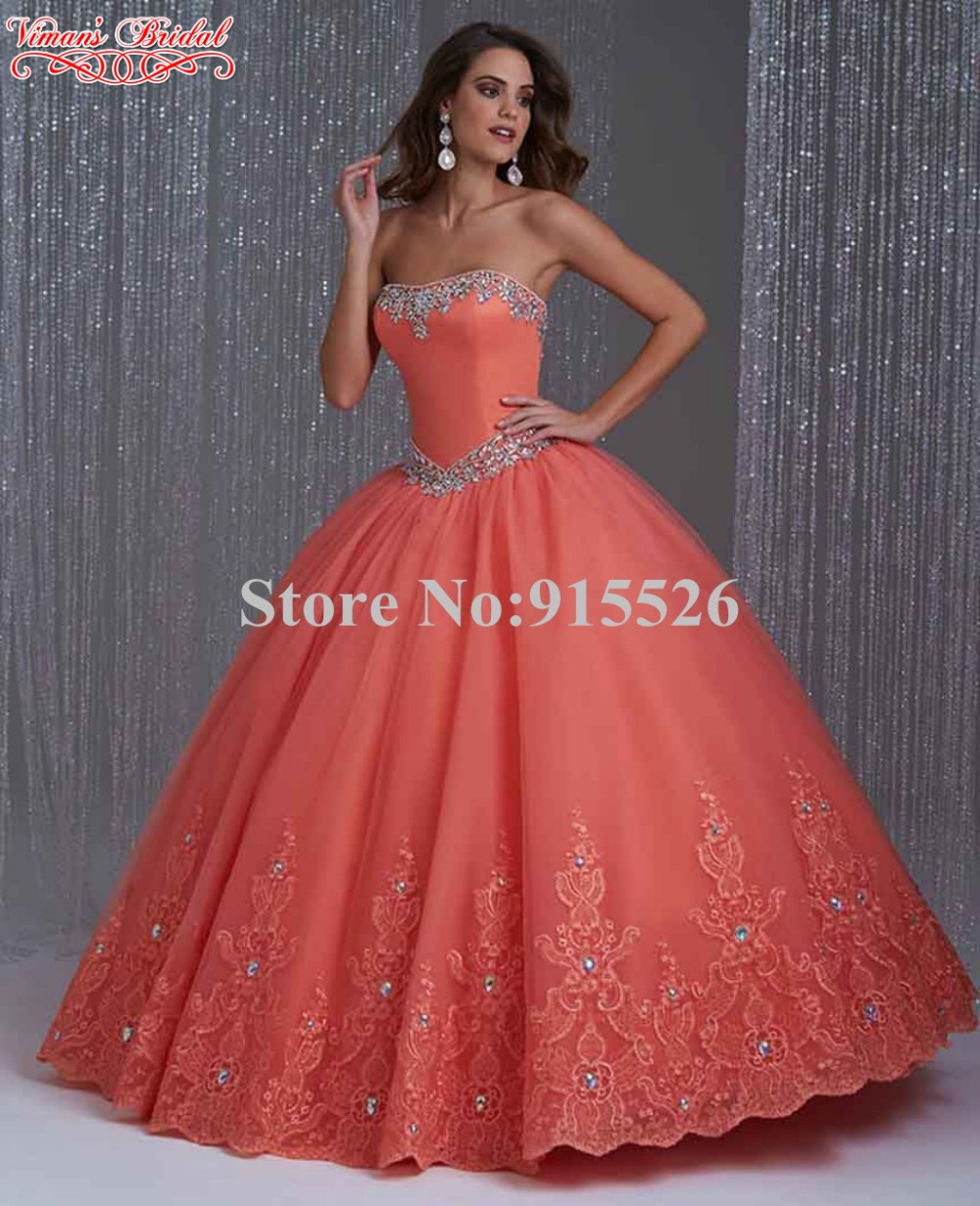 Orange Ball Gown Quinceanera Dresses Beading Crystal Strapless Off ...