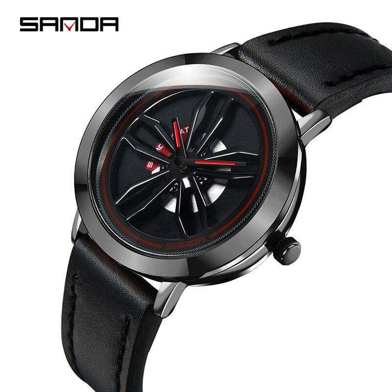 Men Quartz Watch 30M Waterproof Men's Wristwatch Top Brand SANDA Leather Mens Bracelet Original Battery Clock Male Reloj Mujer