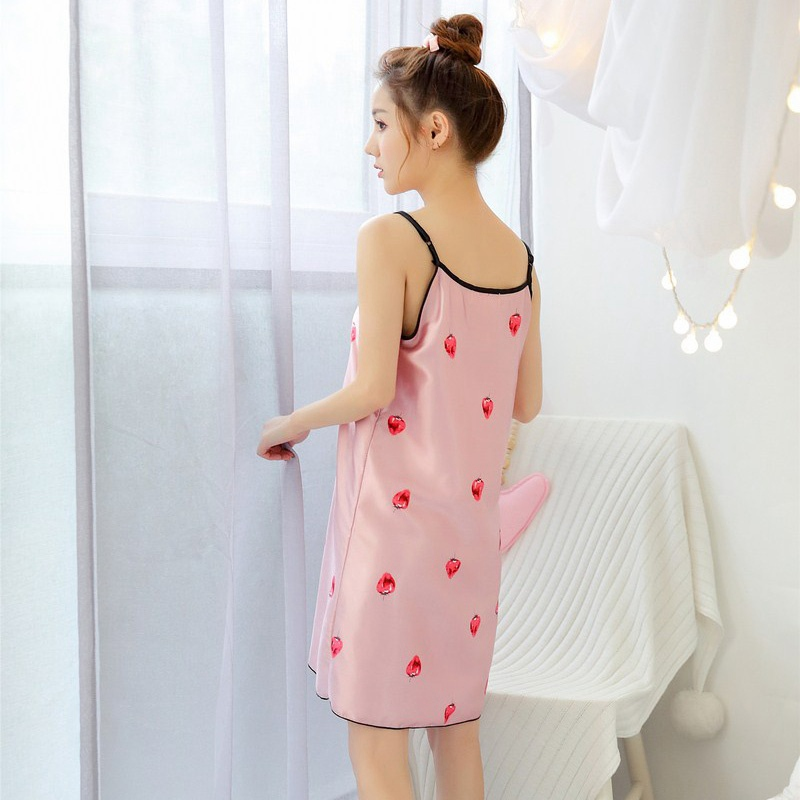 Cute Strawberry Printed Silk Mini Night Dress Sleeveless Female Sexy Cozy Sleepwear with Eyeshade Nightgowns 2019 New Arrival in Nightgowns Sleepshirts from Underwear Sleepwears