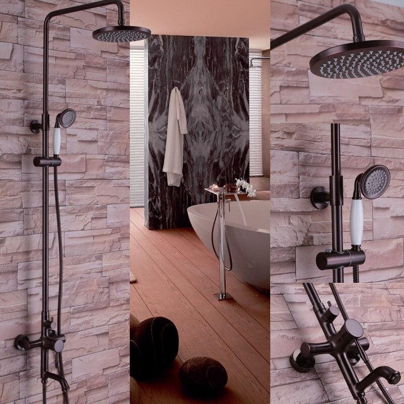 Antique couleur cuivre meilleur laiton massif salle de bain baignoire unité de robinet de douche pomme de douche de pluie de 8 pouces avec vaporisateur à main