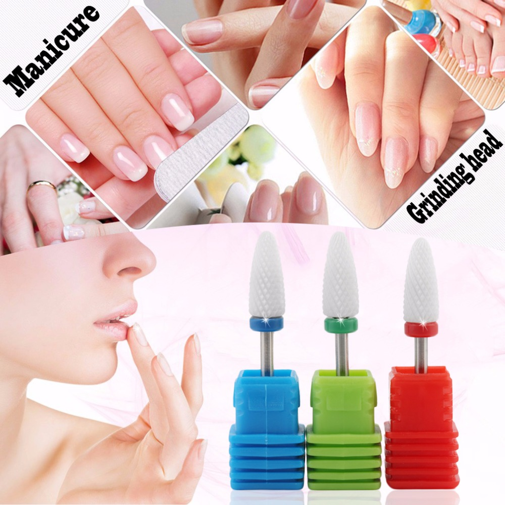 Cuspidal Ceramic Nail Drill Bit Nail Art Tools Callus Electric Manicure machine Accessories Cutter Nail File top quality