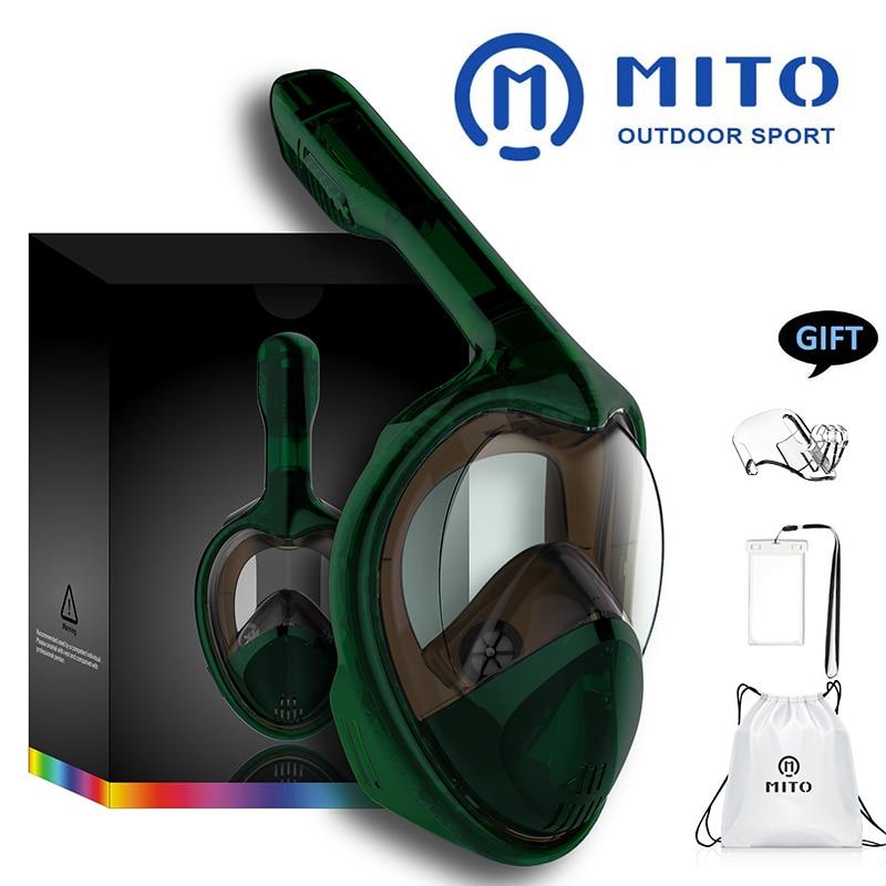 2019 Full Face Snorkeling Masks Panoramic View Anti-fog Anti-Leak Swimming Snorkel Scuba Underwater Diving Mask GoPro Compatible