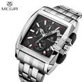 MEGIR Business Wrist Watch for Men Alloy Strap Watch Men Montre Homme Business Luxury Wristwatch Rectangle Analog Quartz Watch