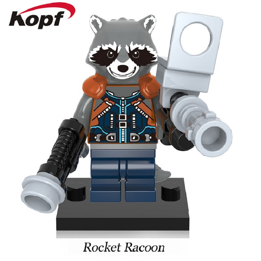 Wholesale 50Pcs Super Heroes Rocket Racoon Guardians of the Galaxy Chessman Ayesha Building Blocks Toys for children Gift XH 607