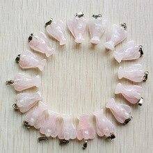 Colgantes de Ángel rosa de piedra natural tallada, charms para fabricación de joyas, 20 unidades por lote, venta al por mayor, envío gratis