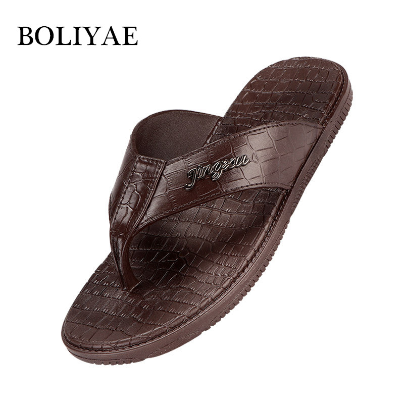 New Fashion Leather Men Beach flip flops outdoor Non-slip Breathable For Summer Men Causal Shoes Sandals Male Slippers(China)