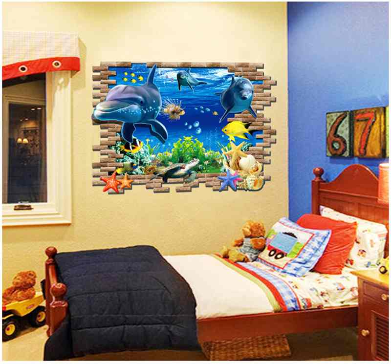 HCSTAR 3D Underwater World UV Scrub Paste Painting Dolphin Wall ...