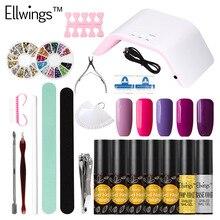 Ellwings 24W LED Nail Lamp Dryer Choose 5 Color Gel Nail Polish Nail Tools Manicure Kit Nail Gel Varnish Set Free Shiping