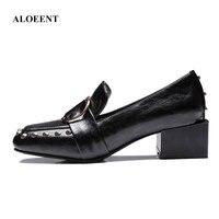 Low Light с обувь квадратных футов обувь один британский обувной тренд с квадратным носком туфли обувь без застежки с заклепками в стиле панк