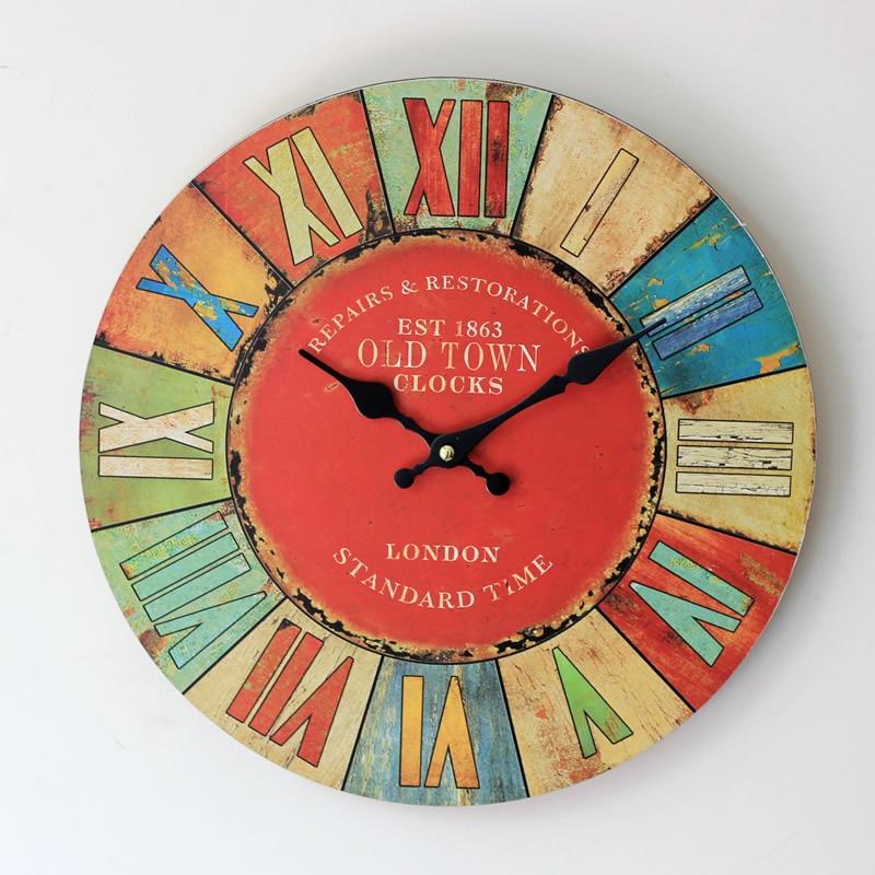 35cm Zakka Roman Style Coloured Drawing Digital Wall Clock Vintage