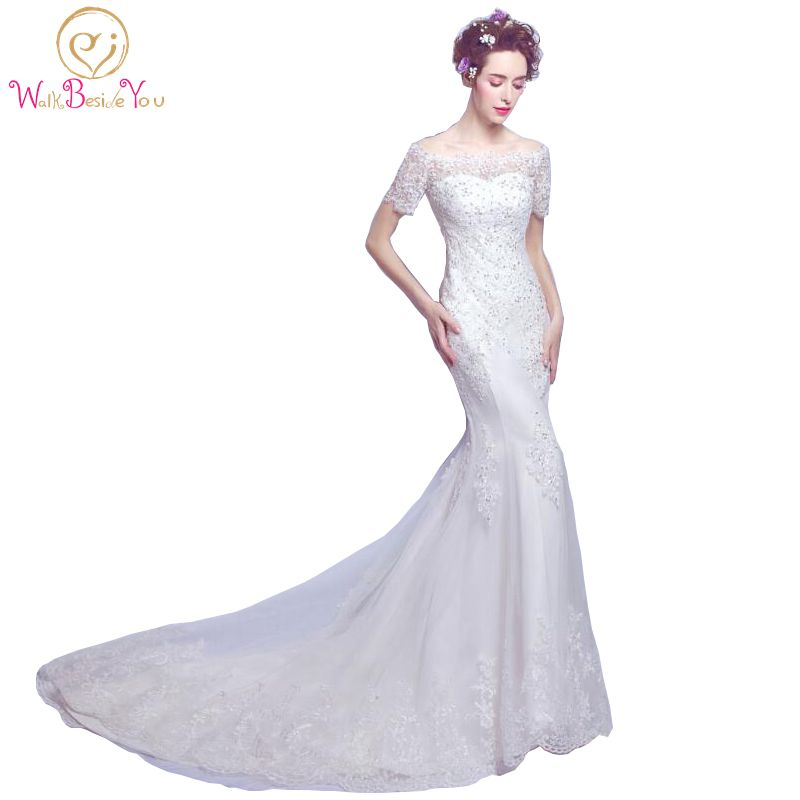 Sexy Wedding Dresses Lace Applique Off Shoulder Bridal Gown Short Sleeves Boat Neck Mermaid Lace up