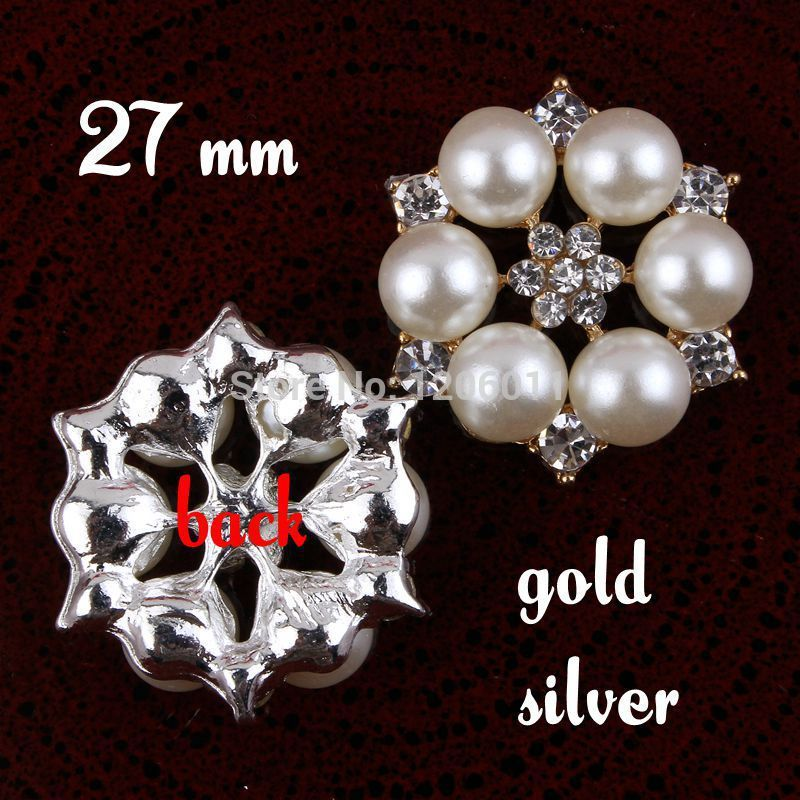 wholesale 120pcs/lot Newest Metal Rhinestone Button With Pearl For Hair Flower Wedding Invitation Scrapbooking Freeshipping