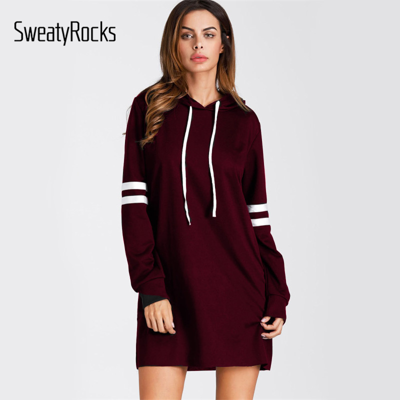 SweatyRocks Burgund Varsity Striped Kurze Hoodie Kleid Frauen Langarm Casual Sweatshirt Kleid Shift Kleid Für Damen