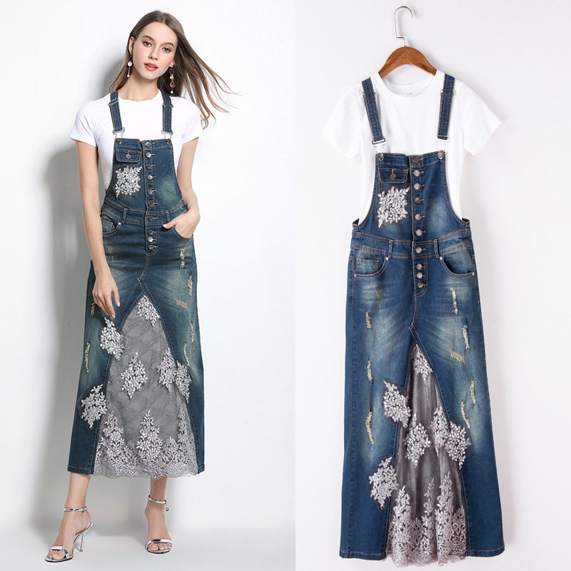 Free Shipping 2017 New Fashion Summer Denim And Gauze Suspenders Full Dress Twinset With White Tops S-XL Beaded Embroidery Dress s xl 2016 new summer