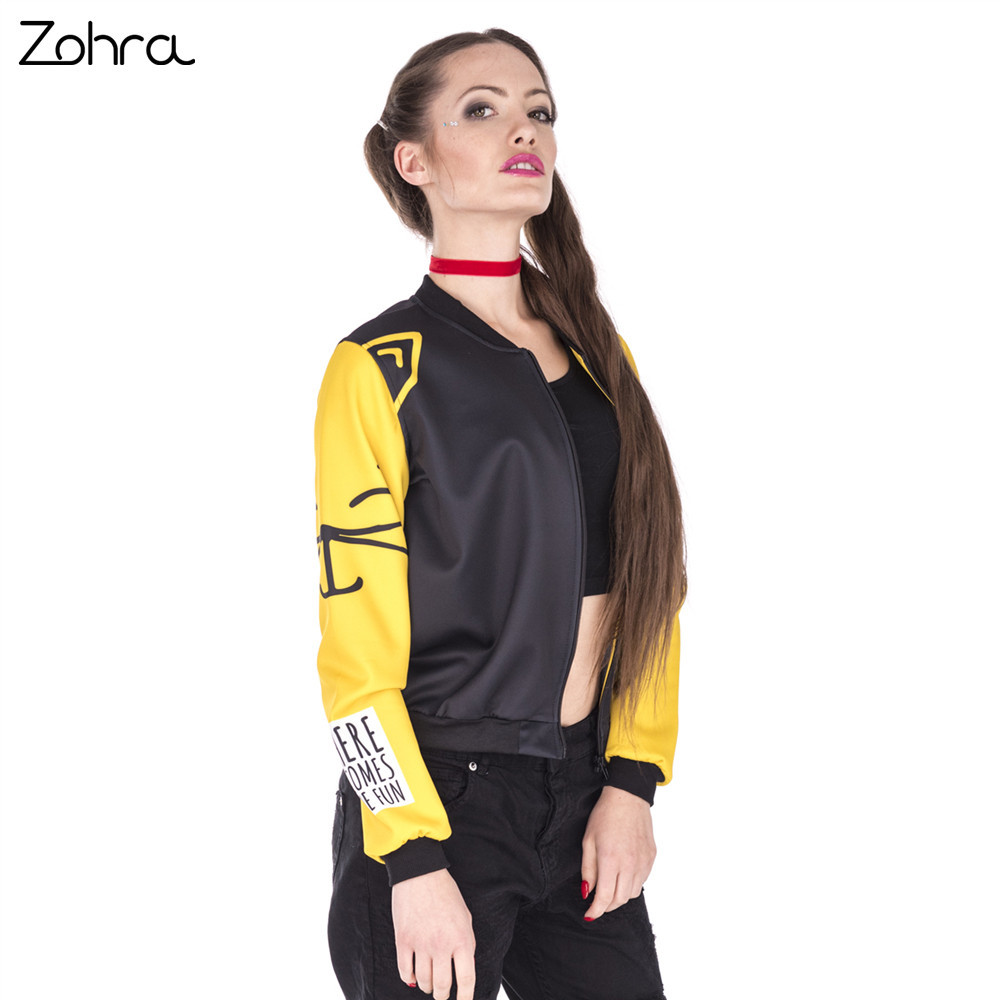 Zohra Hot Sales Women Bomber   Jacket   Love Cats Printing Fashion Jaqueta Feminina Sexy Slim   Basic     Jacket   for Woman