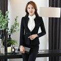 Plus Size Outono Inverno 2016 Estilos Profissional OL Formais Terninhos Para Mulheres Jaquetas E Calças de Negócios Calças Das Senhoras Conjuntos