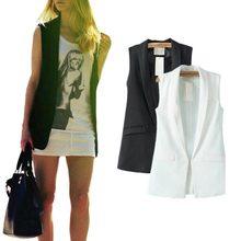 Women Casual Vest 2016 Spring Summer Fashion Ladies Turn-down Collar Female Vests Waistcoat Outwear WWV137