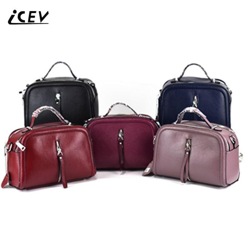 ICEV New Motorcycle Bag Handbags Women Famous Brands Genuine Leather Handbags Ladies High Quality Totes Women Leather Handbags icev luxury designer high quality patent split leather women s handbags famous brands lace embroidery messenger bag ladies tote